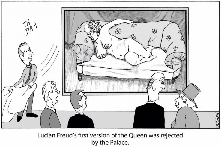Cartoon showing Lucian Freud painting portrait of Queen Elizabeth II