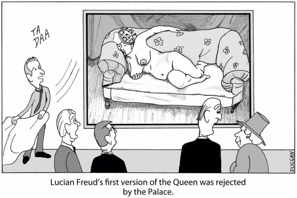 Cartoon showing Lucian Freud painting portrait of Queen Elizabeth II