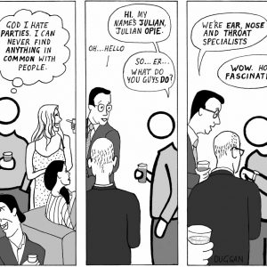 Cartoon depicting awkward conversation between Julian Opie figure and other guests at a party