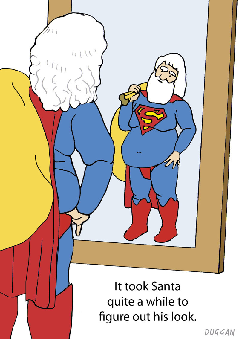 Santa contemplates a Superman look