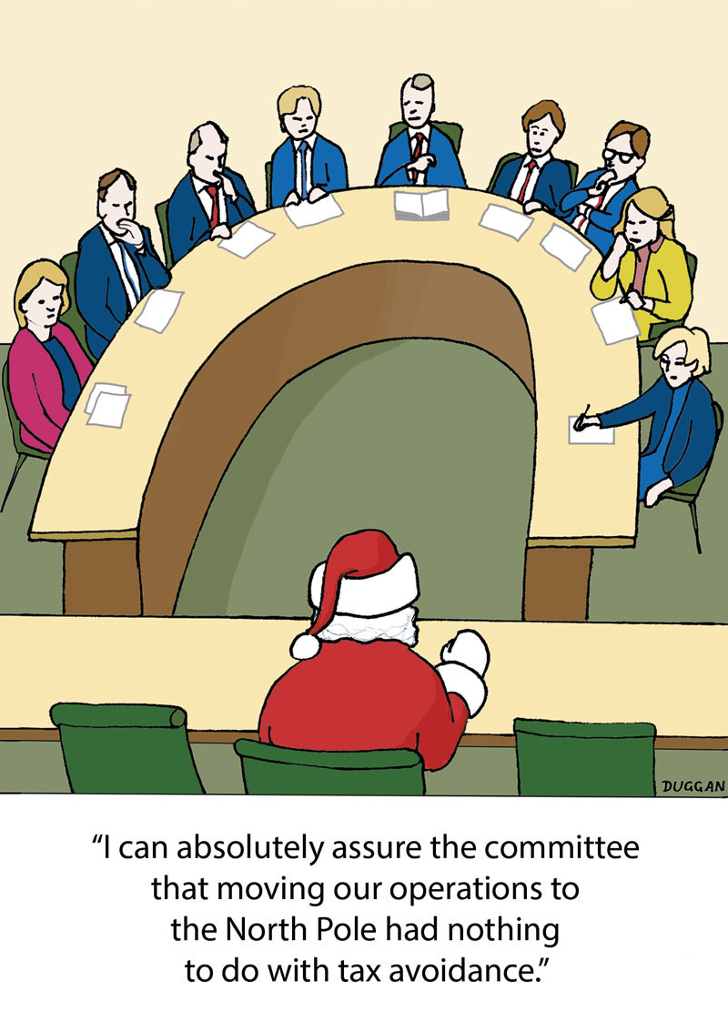 Santa Claus grilled by the Parliamentary Select Committee