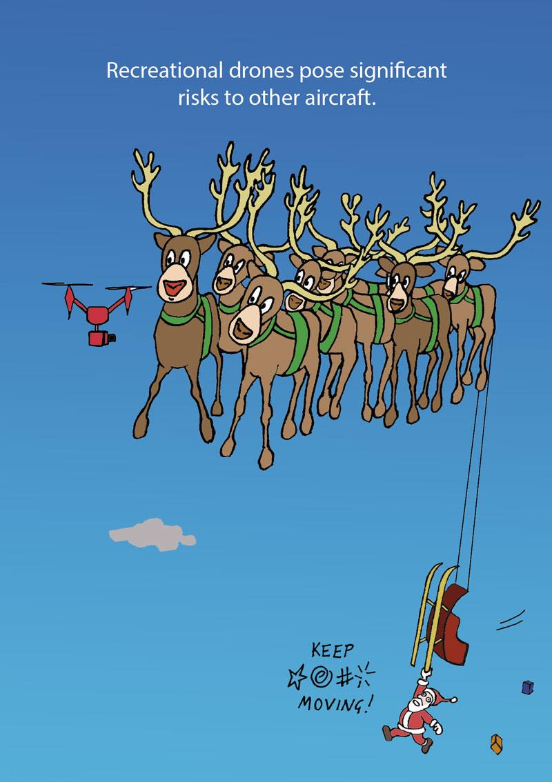 Drone interrupts Santa's sleigh