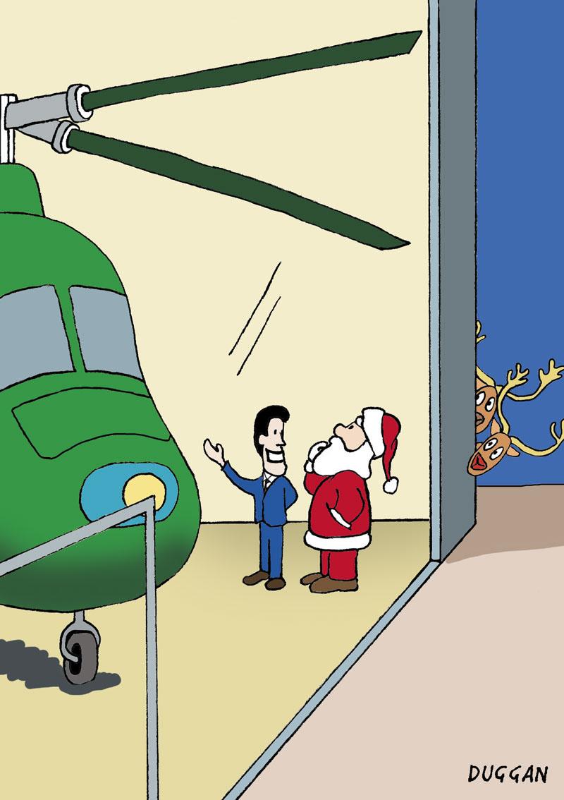 Santa considers getting a helicopter instead of reindeer