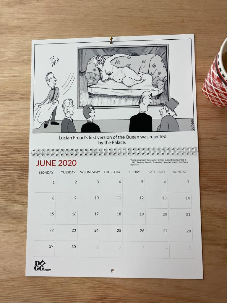 Lucian Freud in 2020 Duggoons calendar